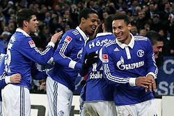 13.12.2011, Arena auf Schalke, Gelsenkirchen, GER, 1.FBL, Schalke 04 vs Werder Bremen, im BildTorjubel/ Jubel nach dem 4:0 von Kyriakos Papadopoulos (Schalke #14) (R) // during the 1.FBL, Schalke 04 vs Werder Bremen on 2011/12/17, Arena auf Schalke, Gelsenkirchen, Germany. EXPA Pictures © 2011, PhotoCredit: EXPA/ nph/ Mueller..***** ATTENTION - OUT OF GER, CRO *****