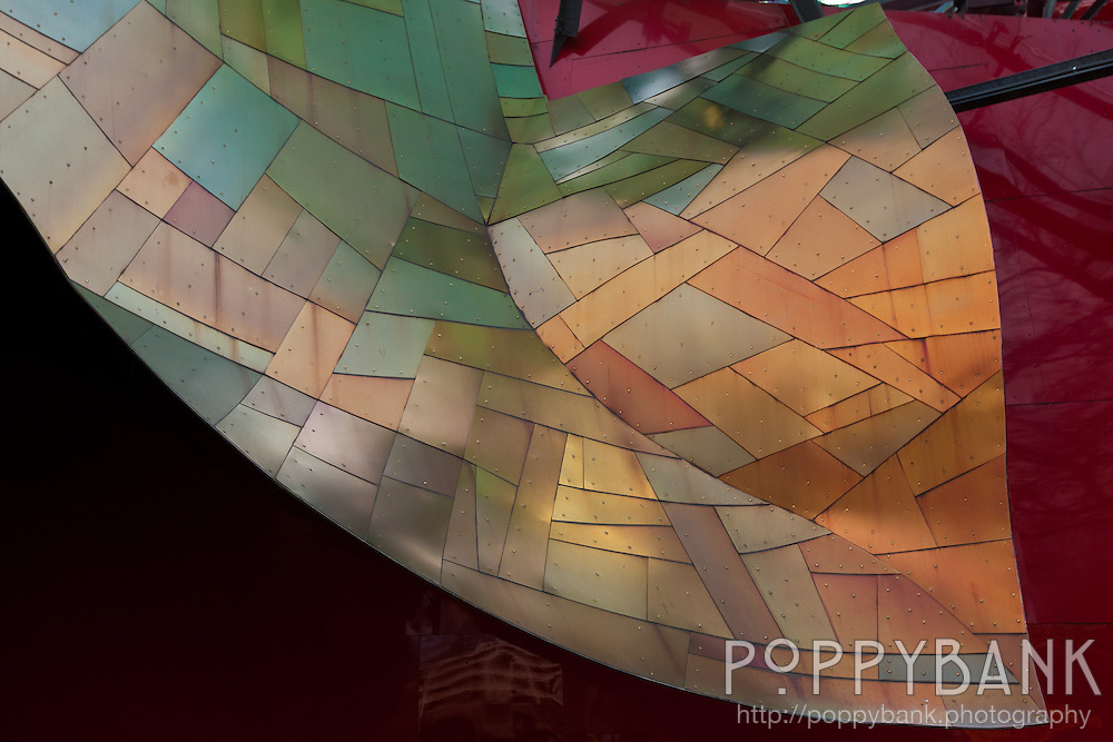 Part of the roof of the Frank Gehry-designed Experience Music Project building evokes a metallic leaf.