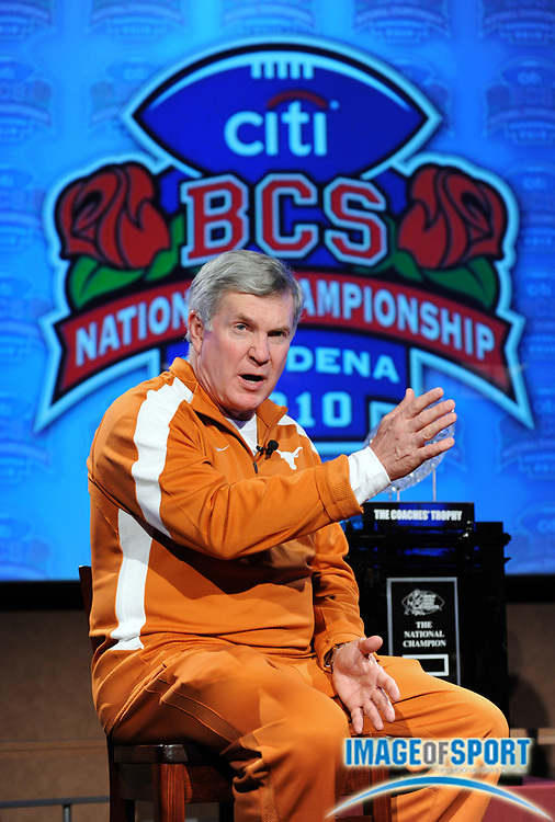 Jan 2, 2010; Anaheim, CA, USA; Texas Longhorns coach Mack Brown at the press conference for the 2010 BCS National Championship game at the ESPN Zone at Downtown Disney.