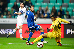 Bojan Jokic of Slovenia, Giorgs Merkis of Cyprus and Kostas Panayi of Cyprus during football match between National Teams of Slovenia and Cyprus in Final Tournament of UEFA Nations League 2019, on October 16, 2018 in SRC Stozice, Ljubljana, Slovenia. Photo by  Morgan Kristan / Sportida