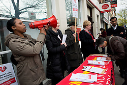 © Licensed to London News Pictures. 19/04/2013. London, UK. Members of the CWU union stage a strike over jobs and closures at Crown Post Office in Holloway, London on April 19, 2013. Photo credit : Peter Kollanyi/LNP
