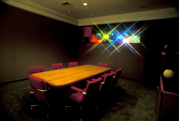 Stock photo of a conference room set up for a multimedia display