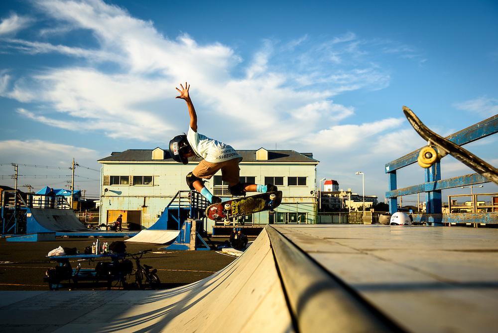 Skaters at Kugenuma Skate Park, Fujisawa City, Kanagawa Prefecture, Japan.