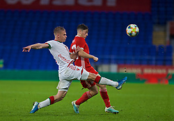 CARDIFF, WALES - Monday, September 9, 2019: Belarus' Nikolai Zolotov tackles Wales' Daniel James during the International Friendly match between Wales and Belarus at the Cardiff City Stadium. (Pic by Mark Hawkins/Propaganda)