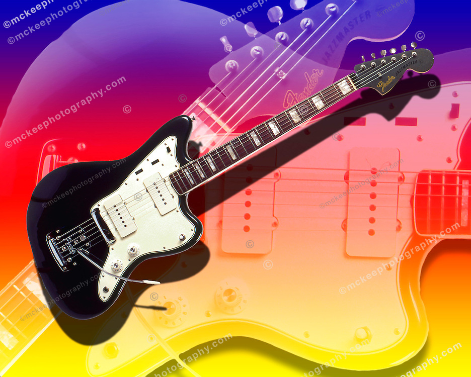 Fender Jazzmaster Electric Guitar on abstract background.