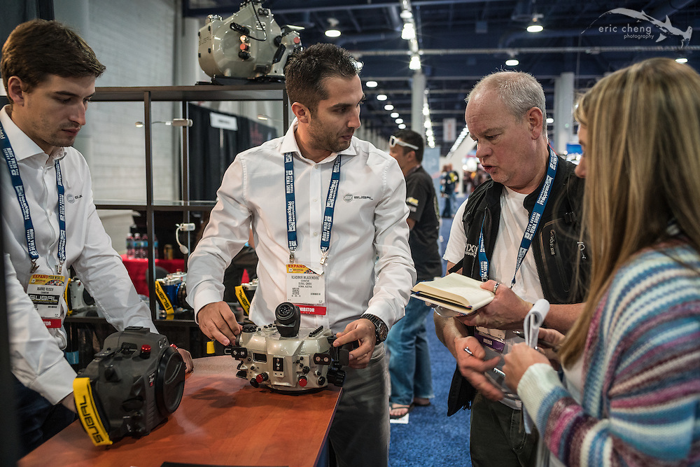 Wetpixel's Adam Hanlon and Abi Mullens, hard at work covering the DEMA Show (DEMA 2016, Las Vegas)
