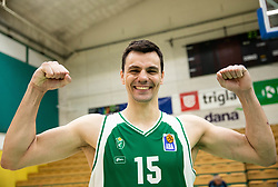 Jure Balazic of Krka celebrates after winning during basketball match between KK Krka and KK Petrol Olimpija in 22nd Round of ABA League 2018/19, on March 17, 2019, in Arena Leon Stukelj, Novo mesto, Slovenia. Photo by Vid Ponikvar / Sportida