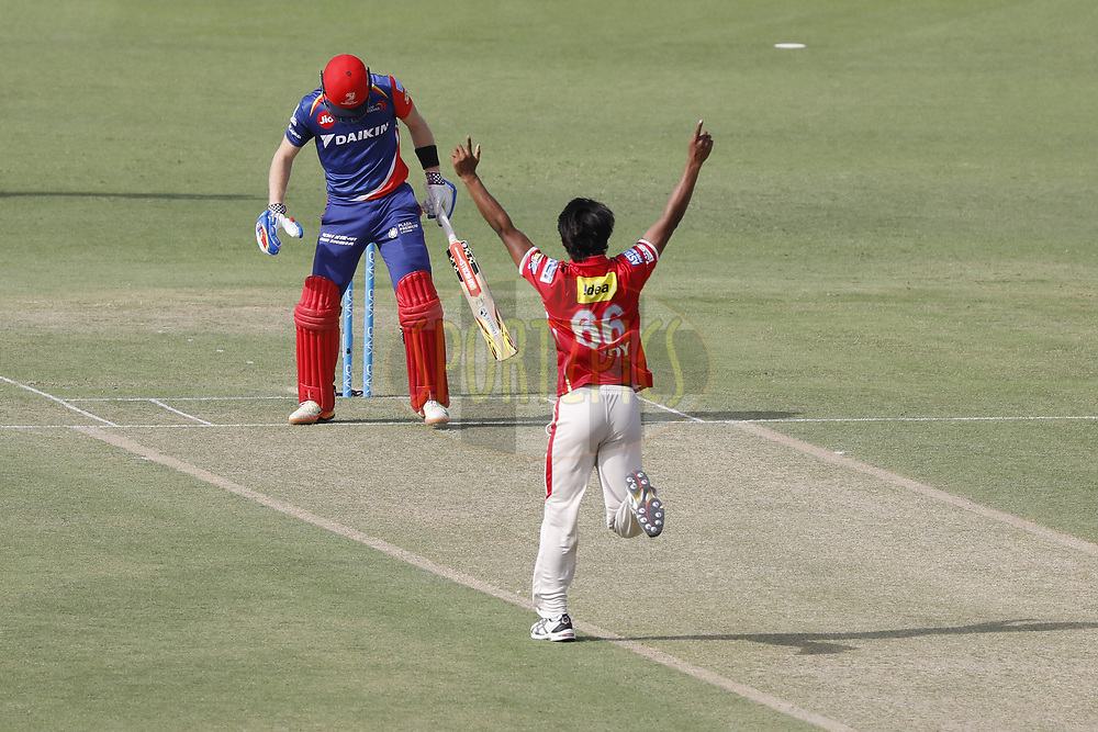 Sandeep Sharma of Kings XI Punjab successfully appeals for the wicket of Sam Billings of the Delhi Daredevils during match 36 of the Vivo 2017 Indian Premier League between the Kings XI Punjab and the Delhi Daredevils  held at the Punjab Cricket Association IS Bindra Stadium in Mohali, India on the 30th April 2017<br /> <br /> Photo by Arjun Singh - Sportzpics - IPL