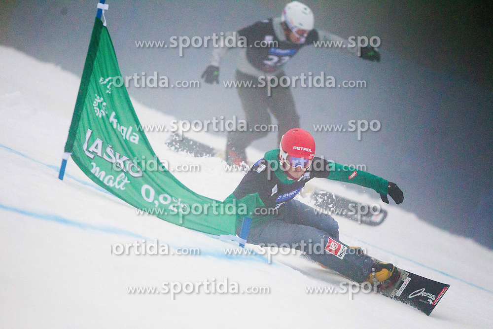 Zan Kosir of Slovenia competes during Parallel Giant Slalom Rogla 2014 of FIS Snowboard World Cup 2014, on January 18, 2014 in Course Jasa, Rogla, Slovenia. Photo by Vid Ponikvar / Sportida