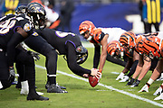 The Baltimore Ravens offensive line snaps the ball at the line of scrimmage opposite the Cincinnati Bengals defensive line during the NFL week 11 regular season football game against the Cincinnati Bengals on Sunday, Nov. 18, 2018 in Baltimore. The Ravens won the game 24-21. (©Paul Anthony Spinelli)