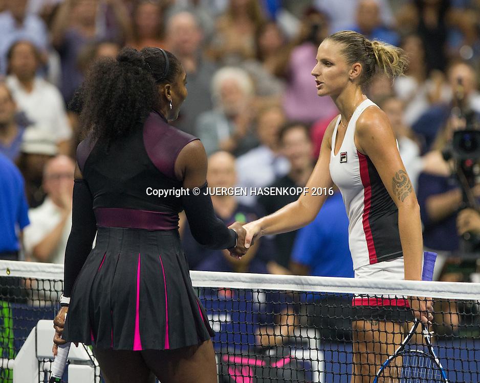 L-R. SERENA WILLIAMS  gratuliert der Siegerin KAROLINA PLISKOVA (CZE)<br /> <br /> Tennis - US Open 2016 - Grand Slam ITF / ATP / WTA -  USTA Billie Jean King National Tennis Center - New York - New York - USA  - 8 September 2016.