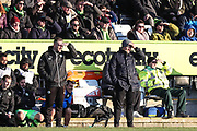 Forest Green Rovers assistant manager, Scott Lindsey and Forest Green Rovers manager, Mark Cooper during the EFL Sky Bet League 2 match between Forest Green Rovers and Crawley Town at the New Lawn, Forest Green, United Kingdom on 24 February 2018. Picture by Shane Healey.