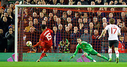 LIVERPOOL, ENGLAND - Thursday, March 10, 2016: Liverpool's Daniel Sturridge scores the first goal against Manchester United's goalkeeper David de Gea from a penalty kick during the UEFA Europa League Round of 16 1st Leg match at Anfield. (Pic by David Rawcliffe/Propaganda)