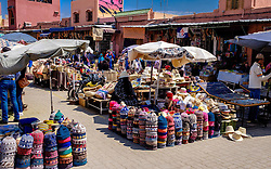 A selection of traditional hats for sale at a stall in the medina, Marrakech, Morocco, North Africa<br /> <br /> (c) Andrew Wilson | Edinburgh Elite media