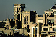 France. Paris. elevated view. saint germain l auxerrois bell tower and Paris roofs  view from trade court