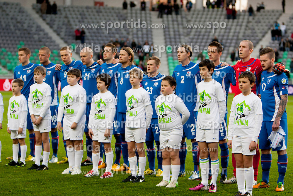 Team Iceland during football match between National teams of Slovenia and Iceland in Group E of FIFA World Cup 2014 Qualification on October 12, 2012 in SRC Stozice, Ljubljana, Slovenia. (Photo By Urban Urbanc / Sportida)
