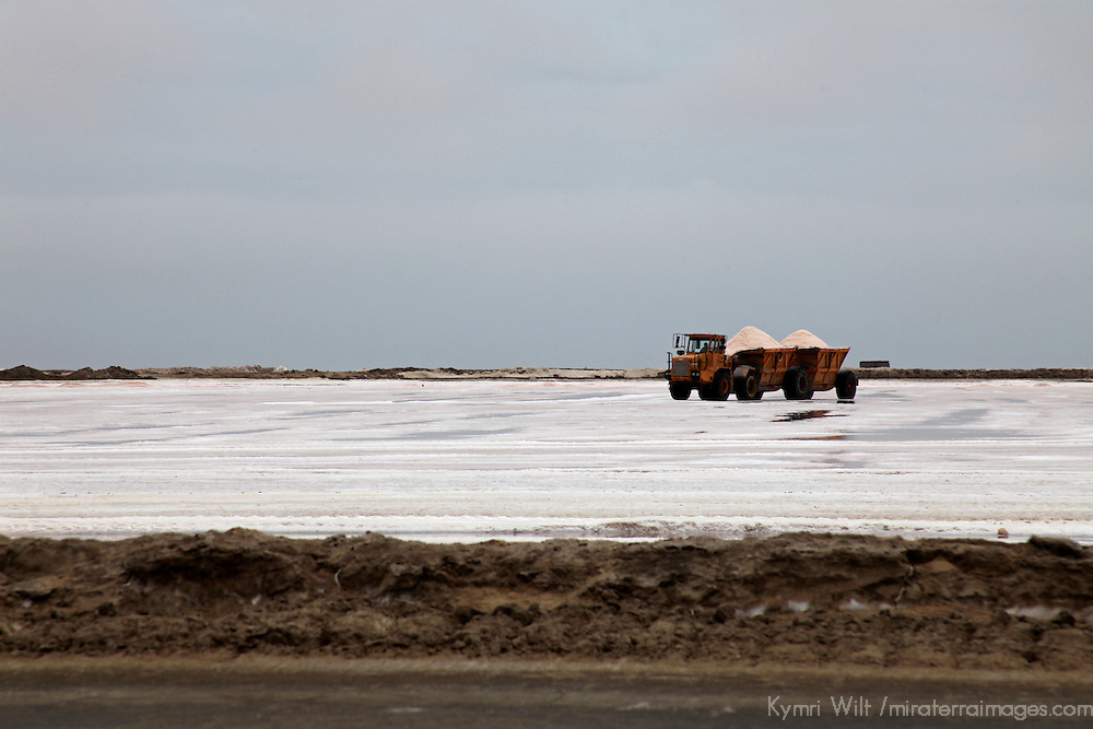 Africa, Namibia, Walvis Bay. Salt Pan Refinery Truck.