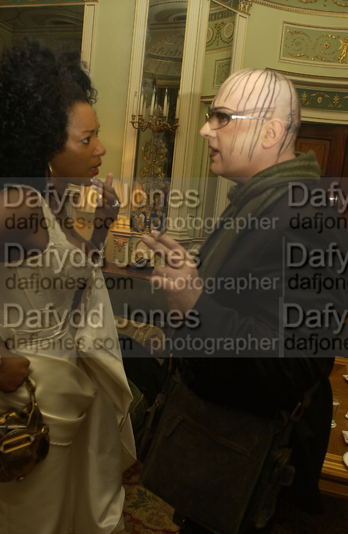 Boy George. and Sandy Lamb. Philip Sallon and Bruce Fielding Joint birthday party. Home House. London. 12  November 2005 . ONE TIME USE ONLY - DO NOT ARCHIVE © Copyright Photograph by Dafydd Jones 66 Stockwell Park Rd. London SW9 0DA Tel 020 7733 0108 www.dafjones.com