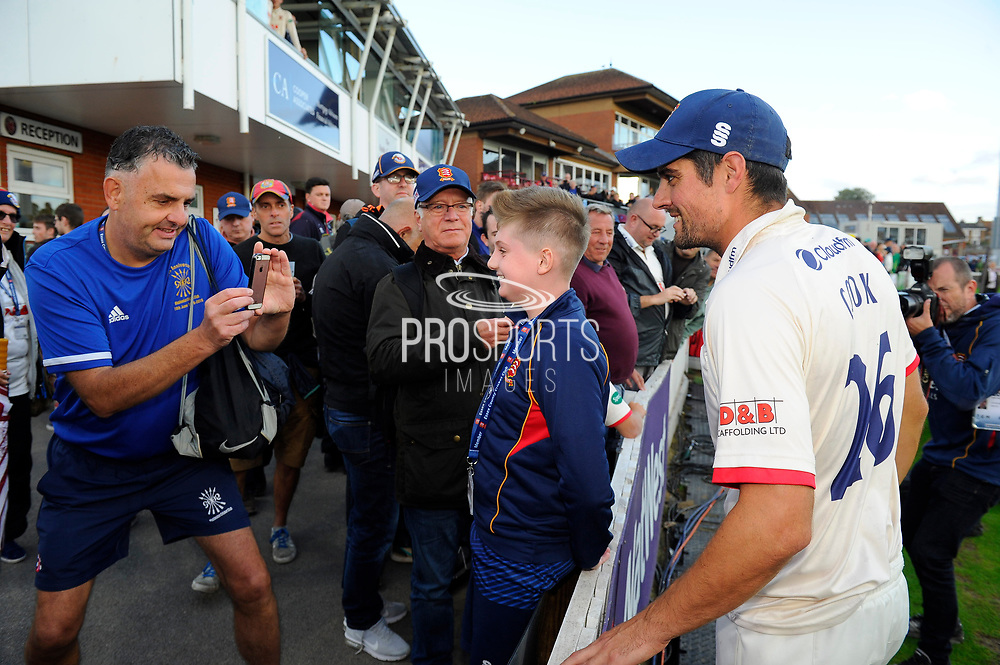 Alastair Cook of Essex goes over to the fans to join in their celebrations after Essex won the County Championship during the Specsavers County Champ Div 1 match between Somerset County Cricket Club and Essex County Cricket Club at the Cooper Associates County Ground, Taunton, United Kingdom on 26 September 2019.