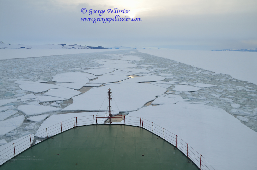 The icebreaker Vladimir Ignatyuk breaking up ice in the channel to McMurdo Station, Antarctica.