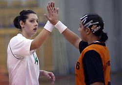Dolores Naglic and Larisa Nikolic of Olimpija at  handball game between women team RK Olimpija vs ZRK Brezice at 1st round of National Championship, on September 13, 2008, in Arena Tivoli, Ljubljana, Slovenija. Olimpija won 41:17. (Photo by Vid Ponikvar / Sportal Images)