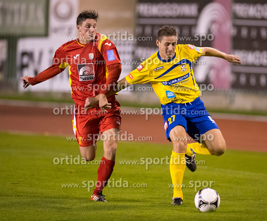 during football match between NK Rudar and FC Luka Koper in 14th Round of Slovenian First League PrvaLiga NZS 2012/31 on October 20, 2012 in Velenje, Slovenia. (Photo By Jure Makovec / Sportida)
