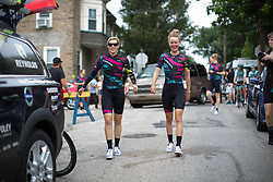 Tiffany Cromwell (AUS) and Hannah Barnes (GBR) of CANYON//SRAM Racing walk to the sign-in before the Philadelphia International Cycling Classic, a 117.8 km road race in Philadelphia on June 5, 2016 in Philadelphia, PA.