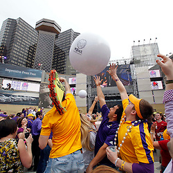 Jan 9, 2012; New Orleans, LA, USA; Fans reach for a balloon in champions square before the 2012 BCS National Championship game between the LSU Tigers and the Alabama Crimson Tide at the Mercedes-Benz Superdome.  Mandatory Credit: Derick E. Hingle-US PRESSWIRE