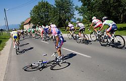 Andrea Grendene  (ITA) of Lampre - N.G.C. felt at 2nd stage of Tour de Slovenie 2009 from Kamnik to Ljubljana, 146 km, on June 19 2009, Slovenia. (Photo by Vid Ponikvar / Sportida)