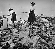 French coastal scene showing adults searching a beach for shellfish or crabs. Circa 1900