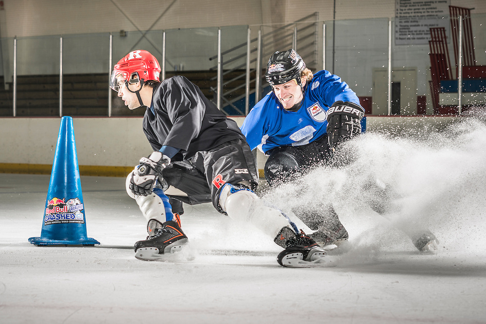 Jack Shram (L) and Harrison Rigsby (R) compete at Red Bull Crashed Ice at the Tampa Bay Skating Academy in Tampa Bay, FL, USA on 4  January 2014.