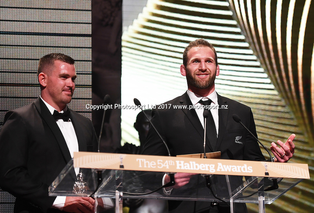 Team of the Year presenters, Kieran Reid and Joseph Sullivan.<br /> The 54th Halberg Awards in support of the Halberg Disability Sport Foundation. Vector Arena, Auckland, New Zealand. Thursday 9 February 2017. &copy; Copyright photo: Andrew Cornaga / www.photosport.nz