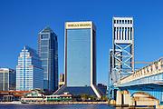 Downtown Jacksonville buildings and Main Street bridge