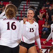 24 August 2018: The San Diego State Aztecs women's volleyball team opens up it's season hosting the Aztec Invite at Peterson Gym. Their first round match up comes against CSU Bakersfield and they lost in five sets 25-19; 17-25; 14-25; 25-23; 16-14