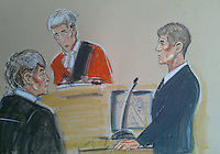 Drawing shows Liverpool and England footballer Steven Gerrard at Liverpool Crown Court where he is facing charges of affray. He is accused of being part of a group that injured businessman Marcus McGee, 34, at the Lounge Inn, Southport, in the early hours of December 29 last year.