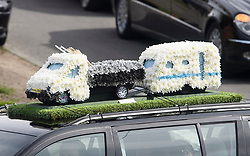 © Licensed to London News Pictures. 03/05/2018. St Mary Cray, UK. TRAILOR AND CARAVAN FLOWERS ON A CAR ROOF. The funeral of burglar Henry Vincent in St Mary Cray, Bromley, London. Henry Vincent, who is part of a traveller community in the south east London, died during an attempted burglary of the home of pensioner Richard Osborn-Brook in Hither Green. Photo credit: Ben Cawthra/LNP