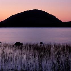 Acadia N.P., ME. Eagle Lake. Pemetic Mtn. Sunrise.
