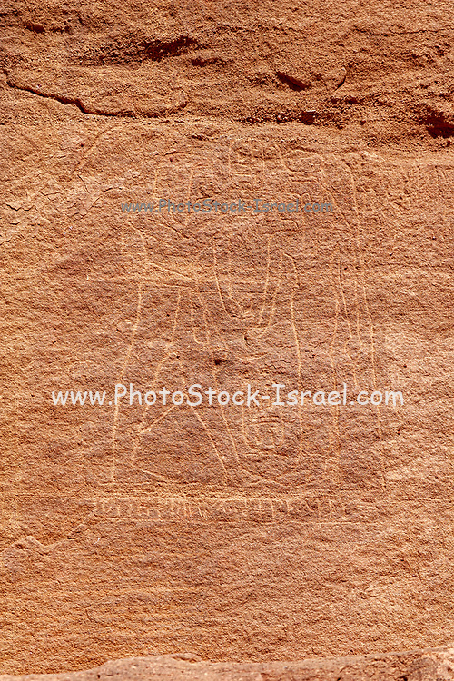 Ancient Egyptian rock carvings at Hathor Temple, 14th-12th centuries BC at Timna national park, Timna Valley, Arava, Israel