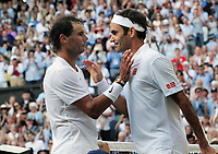 Tennis - 2019 Wimbledon Championships - Week Two, Friday (Day Eleven)<br /> <br /> Men's Singles, Semi-Final: Rafael Nadal (ESP) v Roger Federer (SUI)<br /> <br /> Rafael Nadal congratulates Roger Federer after the match on Centre Court.<br /> <br /> COLORSPORT/ANDREW COWIE