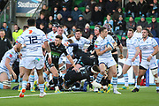 Cardiff Blues outside half Steve Shingler (10) in defence mode during the Heineken Champions Cup match between Glasgow Warriors and Cardiff Blues at Scotstoun Stadium, Glasgow, Scotland on 13 January 2019.