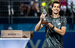 Aljaz Bedene of Slovenia celebrates at trophy ceremony after winning in Final match at Day 10 of ATP Challenger Zavarovalnica Sava Slovenia Open 2019, on August 18, 2019 in Sports centre, Portoroz/Portorose, Slovenia. Photo by Vid Ponikvar / Sportida
