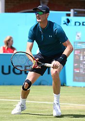 June 21, 2018 - London, United Kingdom - Jamie Murray  in action .during Fever-Tree Championships 2nd Round match between Jamie Murray  Bruno Soares (BRA) against Marcus Daniell  (NZL)AND Wesley Koolhof ( NED ) at The Queen's Club, London, on 21 June 2018  (Credit Image: © Kieran Galvin/NurPhoto via ZUMA Press)