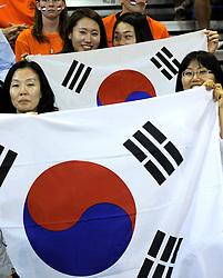08-07-2010 VOLLEYBAL: WLV NEDERLAND - ZUID KOREA: EINDHOVEN<br /> Nederland verslaat Zuid Korea met 3-0 / Publiek support Zuid Korea vlaggen<br /> ©2010-WWW.FOTOHOOGENDOORN.NL