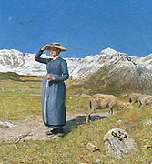 Giovanni Segantini (1858 - 1899), Italian painter. 'Mid day in the Alps'