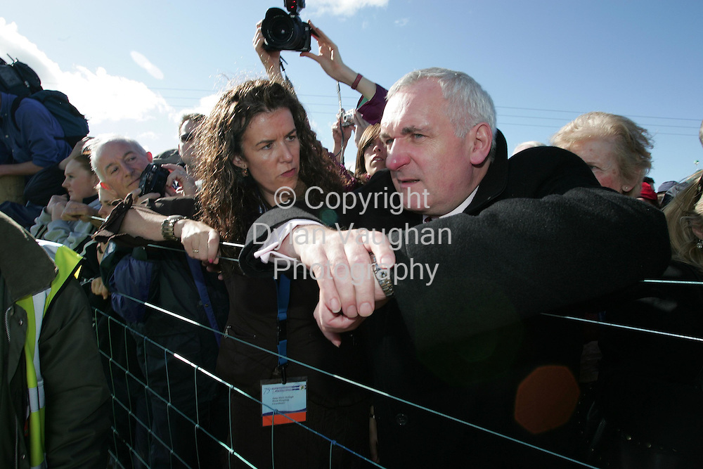 29/9/2006.The Taoiseach Bertie Aherne pictured at the World Ploughing Championships in Carlow yesterday with Anna Marie McHugh of the World Ploughing Championships..Picture Dylan Vaughan.