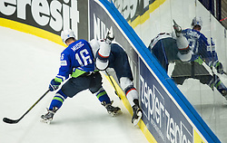 Ales Music of Slovenia vs Charlie Coyle of USA during Ice Hockey match between Slovenia and USA at Day 10 in Group B of 2015 IIHF World Championship, on May 10, 2015 in CEZ Arena, Ostrava, Czech Republic. Photo by Vid Ponikvar / Sportida