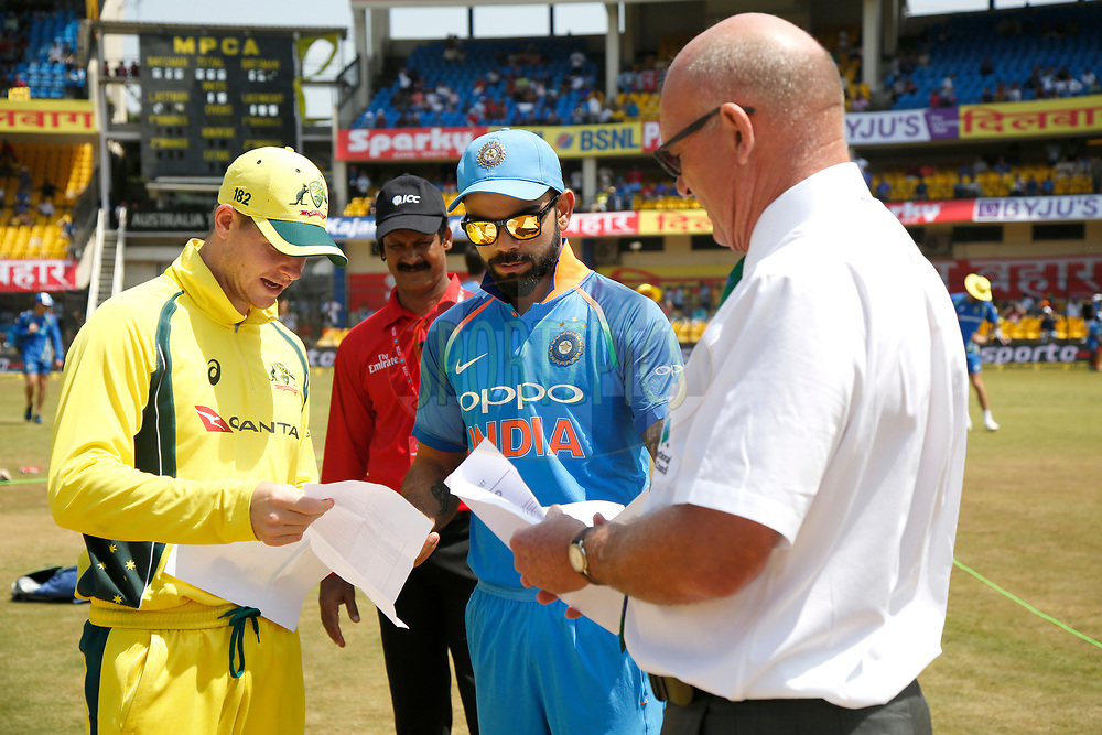 Virat Kohli captain of India and Steven Smith captain of Australia during Toss of the 3rd One Day International between India and Australia held at the Holkar Stadium in Indore on the 24th  September 2017<br /> <br /> Photo by Deepak Malik / BCCI / SPORTZPICS