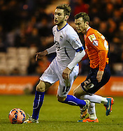 Shaun Whalley of Luton Town (right) chases down Danny Mayor of Bury during the The FA Cup match at Kenilworth Road, Luton<br /> Picture by David Horn/Focus Images Ltd +44 7545 970036<br /> 16/12/2014