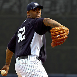 March 11, 2012; Tampa Bay, FL, USA; New York Yankees starting pitcher CC Sabathia (52) against the Philadelphia Phillies during a spring training game at George M. Steinbrenner Field. Mandatory Credit: Derick E. Hingle-US PRESSWIRE