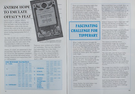 All Ireland Senior Hurling Championship Final,.03.09.1989, 09.03.1989, 3rd September 1989, .Antrim v Tipperary, .03091989AISHCF,.Tipperary 4-24, Antrim 3-9,.Antrim hope to emulate Offaly's Feat,